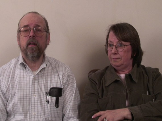 Looped DVD interview of my parents recalling the history of their car.